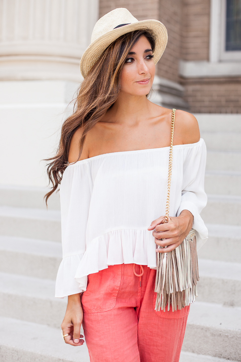 panama hat and off-the-shoulder