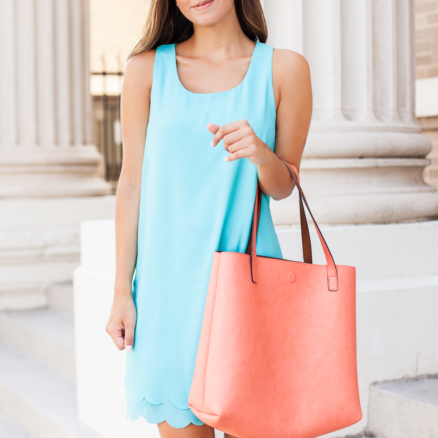 turquoise shift dress