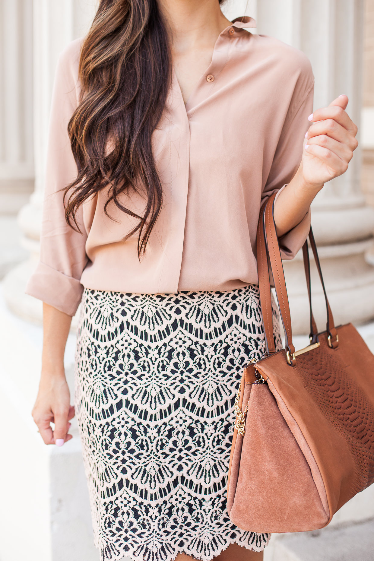 scallop skirt and silk blouse