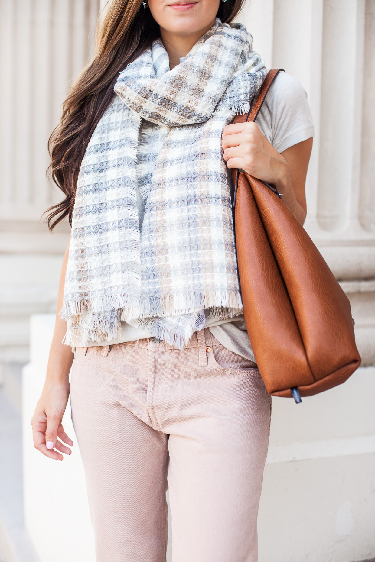 pastel fall outfit details