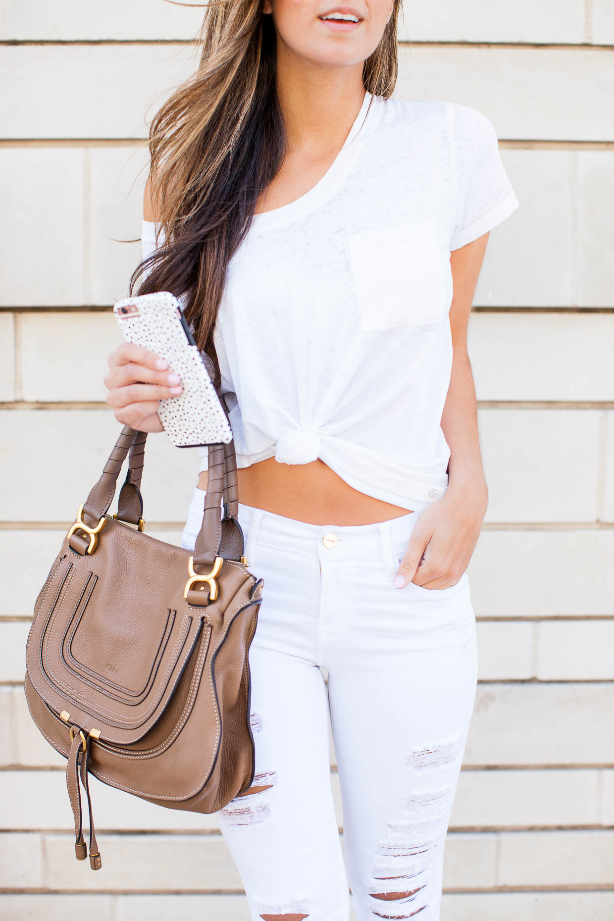 Fashion Blogger Jessi of The Darling Detail wearing Chloe Marcie Satchel in Nut