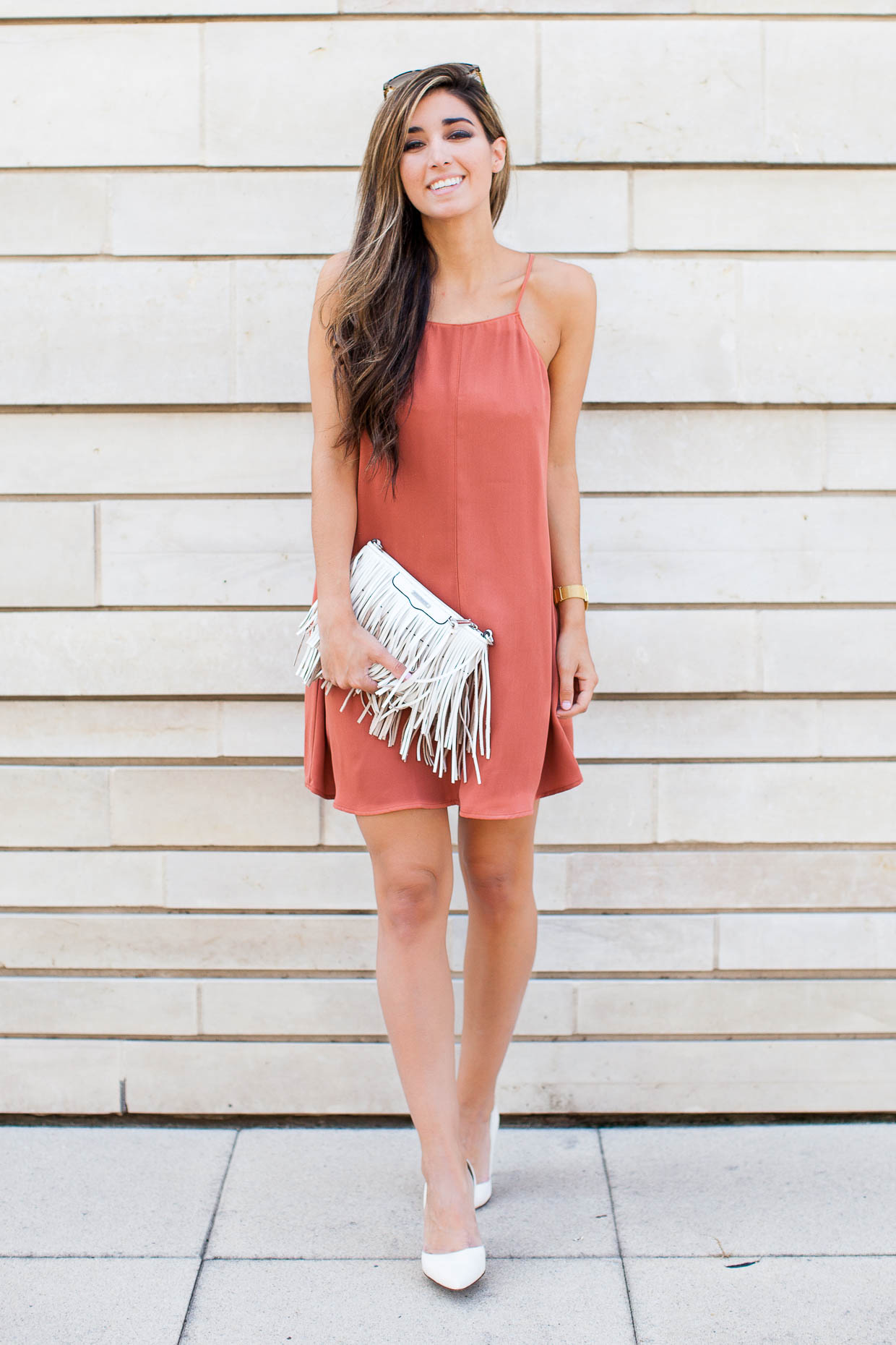 The Darling Detail wears shift dress from Nordstrom