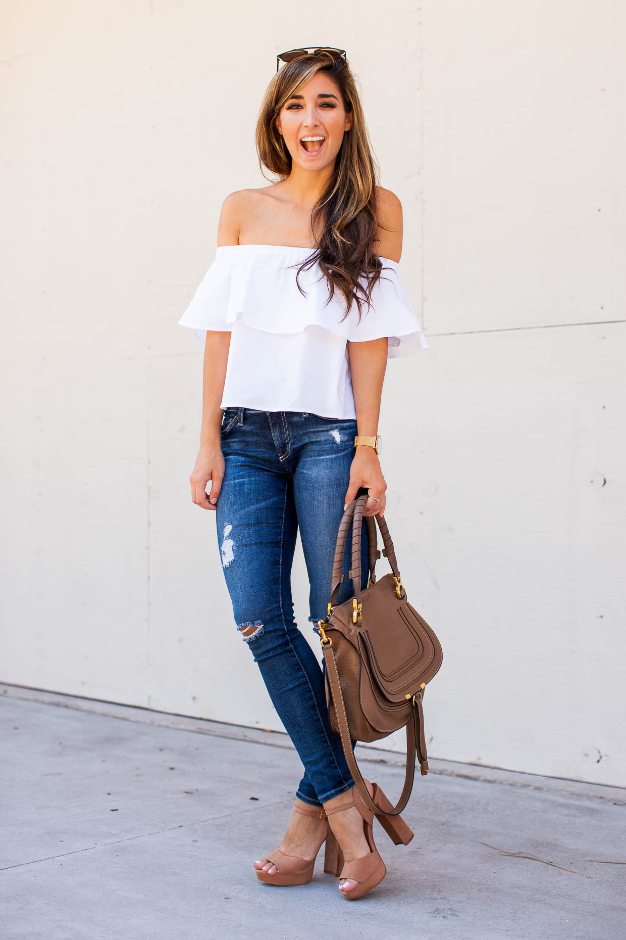 """Fashion Blogger The Darling Detail wearing a white Topshop Poplin Bardot Top with AG """"The Legging"""" Ankle Jeans and Steve Madden """"Kierra"""" Platform Sandals."""