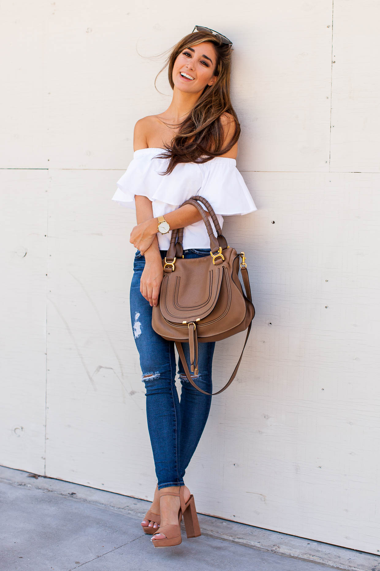 2fc547adce8 The Darling Detail wearing a white Topshop Poplin Bardot Top with AG ...