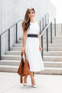 Fashion Blogger The Darling Detail wearing Trouve Open Back Midi Dress.