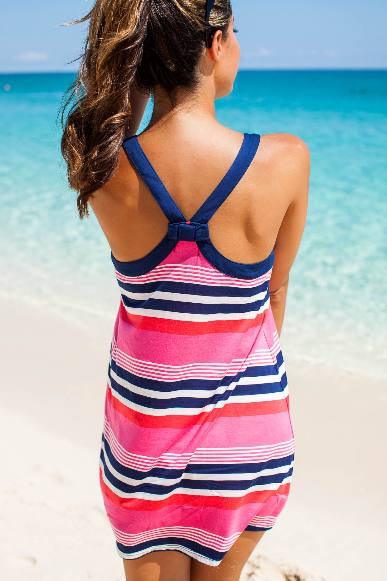 The Darling Detail is wearing the Kate Spade Multi Stripe Chemise on Paradise Island, Nassau.
