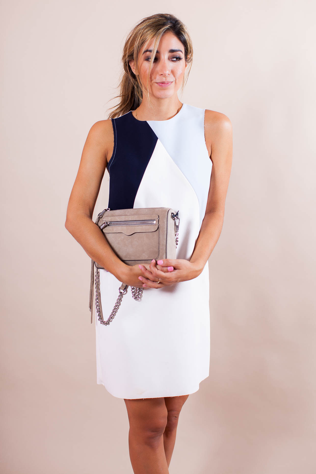 The Darling Detail is wearing a Topshop Colorblock Shift Dress, Michael Kors 'Marina' Slingback Platform Sandals, and is carrying the Rebecca Minkoff 'Avery' Crossbody Bag.