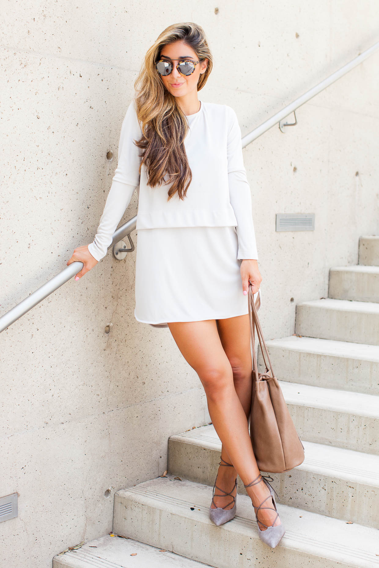 Fashion Blogger The Darling Detail is wearing a Sincerely Jules 'Savoy' Long Sleeve Shirtdress, Sole Society Madeline Lace-Up Pumps, a Sole Society Ariana Bucket, and Westward Leaning Flower 1 Sunglasses.
