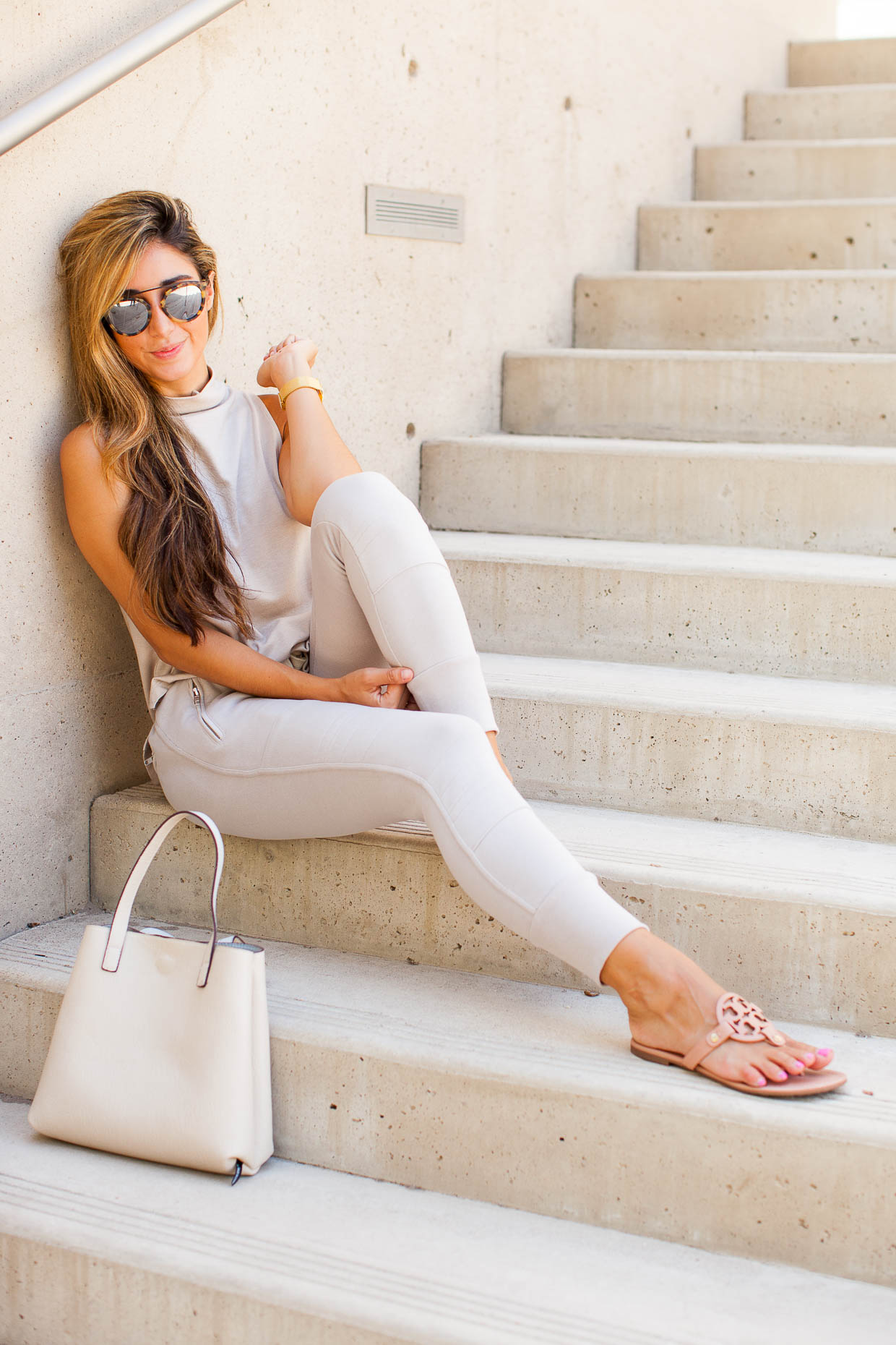 Fashion Blogger The Darling Detail is wearing a Leith Funnel Neck Tank, Sincerely Jules 'Lux' Skinny Cotton Jogger Pants, Westward Leaning Flower 1 Sunglasses, a Larsson & Jennings 'Lugano' Mesh Strap Watch, Tory Burch 'Miller' Flip Flops, holding a Street Level Reversible Faux Leather Tote.
