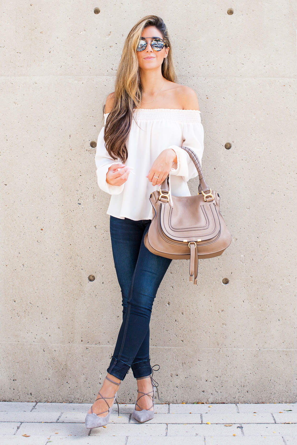 fe78921037a7 Fashion Blogger The Darling Detail is wearing a Chelsea28 Off the Shoulder  Top and rag ...