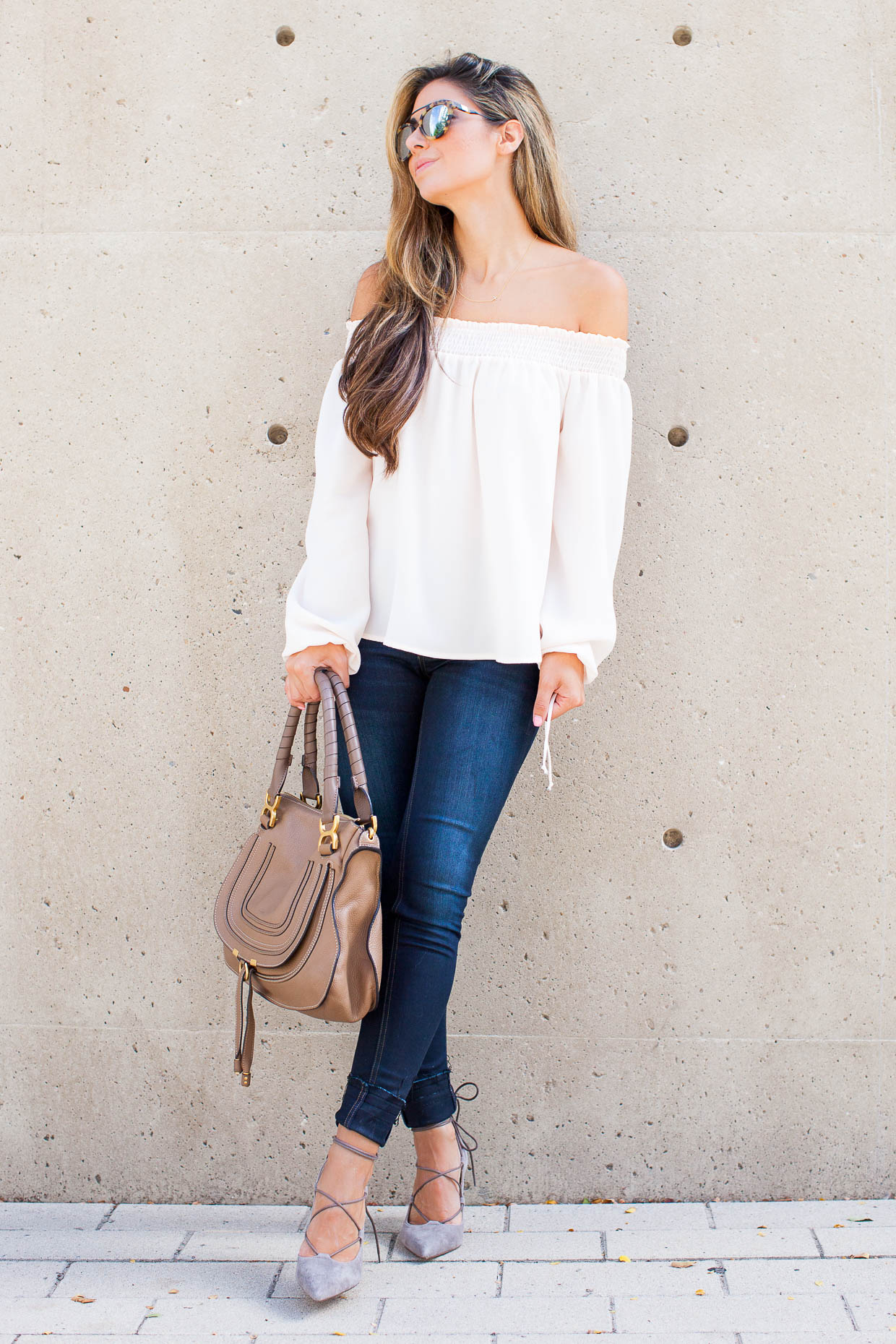 f0c041ce9509 ... Fashion Blogger The Darling Detail is wearing a Chelsea28 Off the  Shoulder Top and rag ...