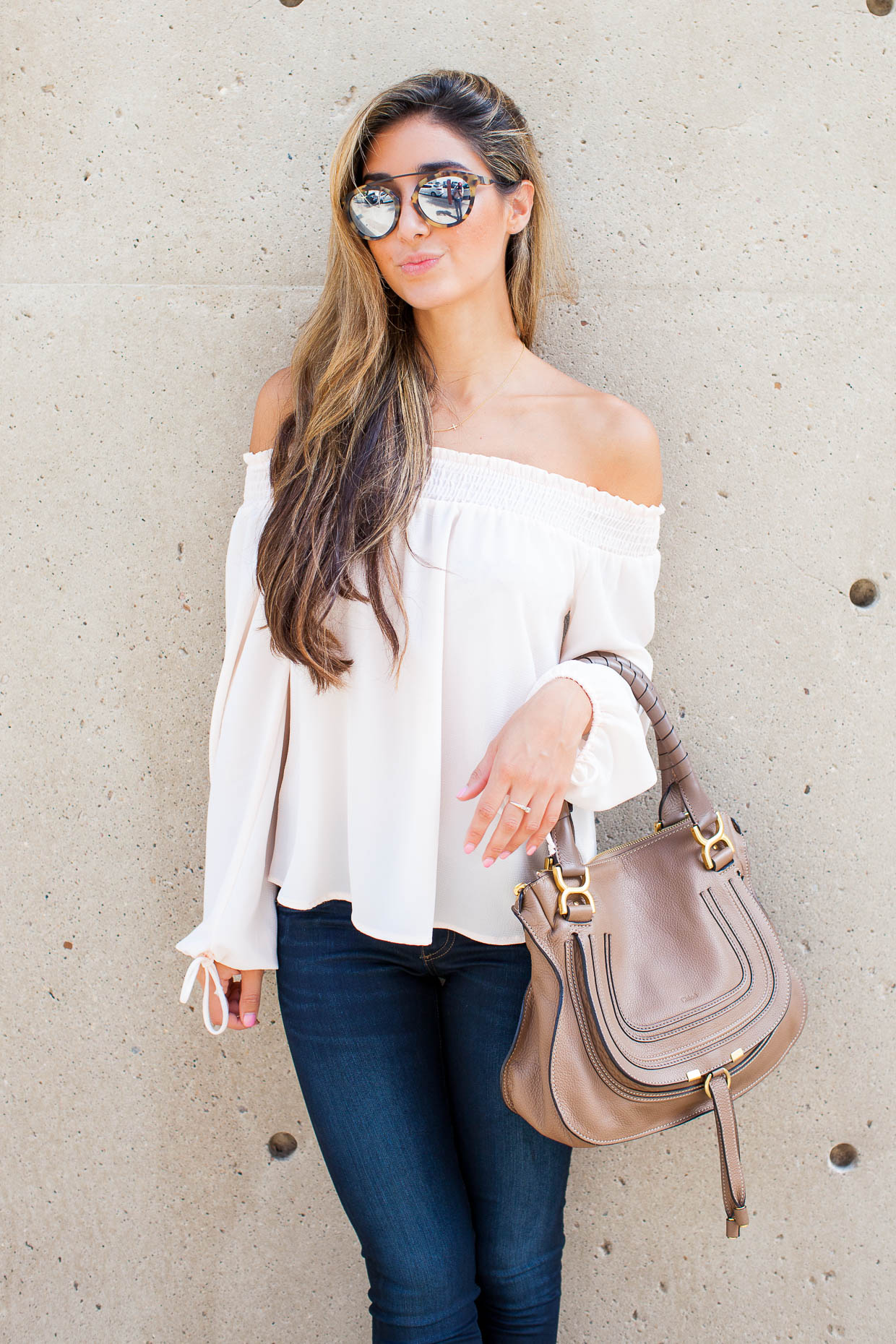 e061b293220c ... The Darling Detail is wearing a Chelsea28 Off the Shoulder Top and rag    bone  ...