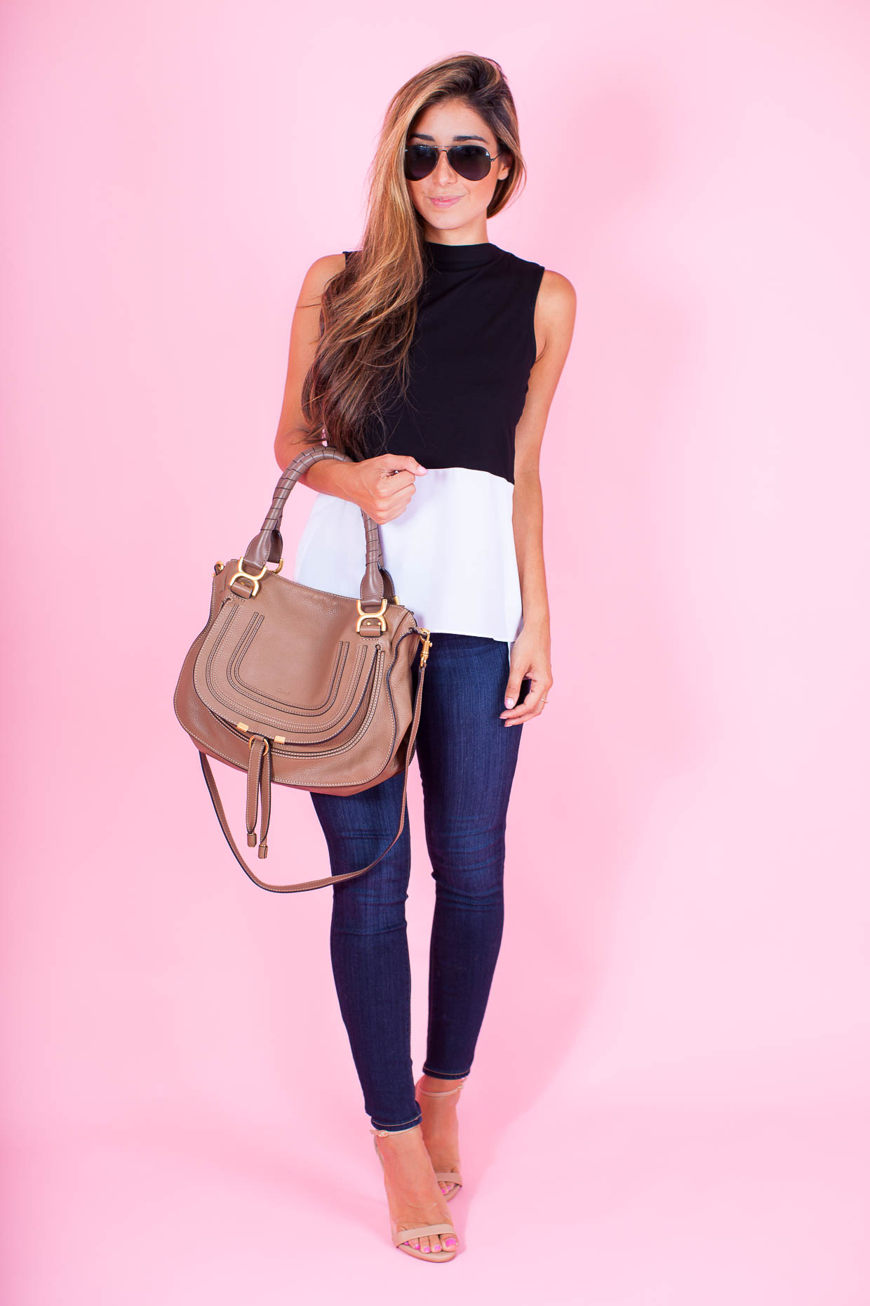 Fashion Blogger The Darling Detail is wearing a 1.State Colorblock Tank wiht PAIGE 'Transcend - Verdugo' Ankle Skinny Jeans, Steve Madden 'Stecy' Sandals, and a Chloe 'Marcie - Small' Leather Satchel.