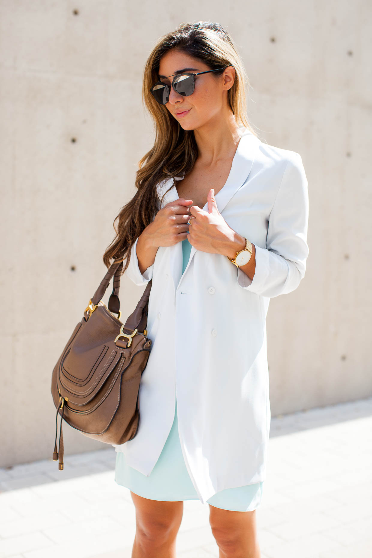 The Darling Detail is wearing a Topshop Crisscross Strap Slipdress, a Topshop Slouchy Longline Blazer, Westward Leaning Flower 1 Sunglasses, a Larsson & Jennings 'Lugano' Mesh Strap Watch, and is holding a Chloe 'Marcie' Small Leather Satchel.