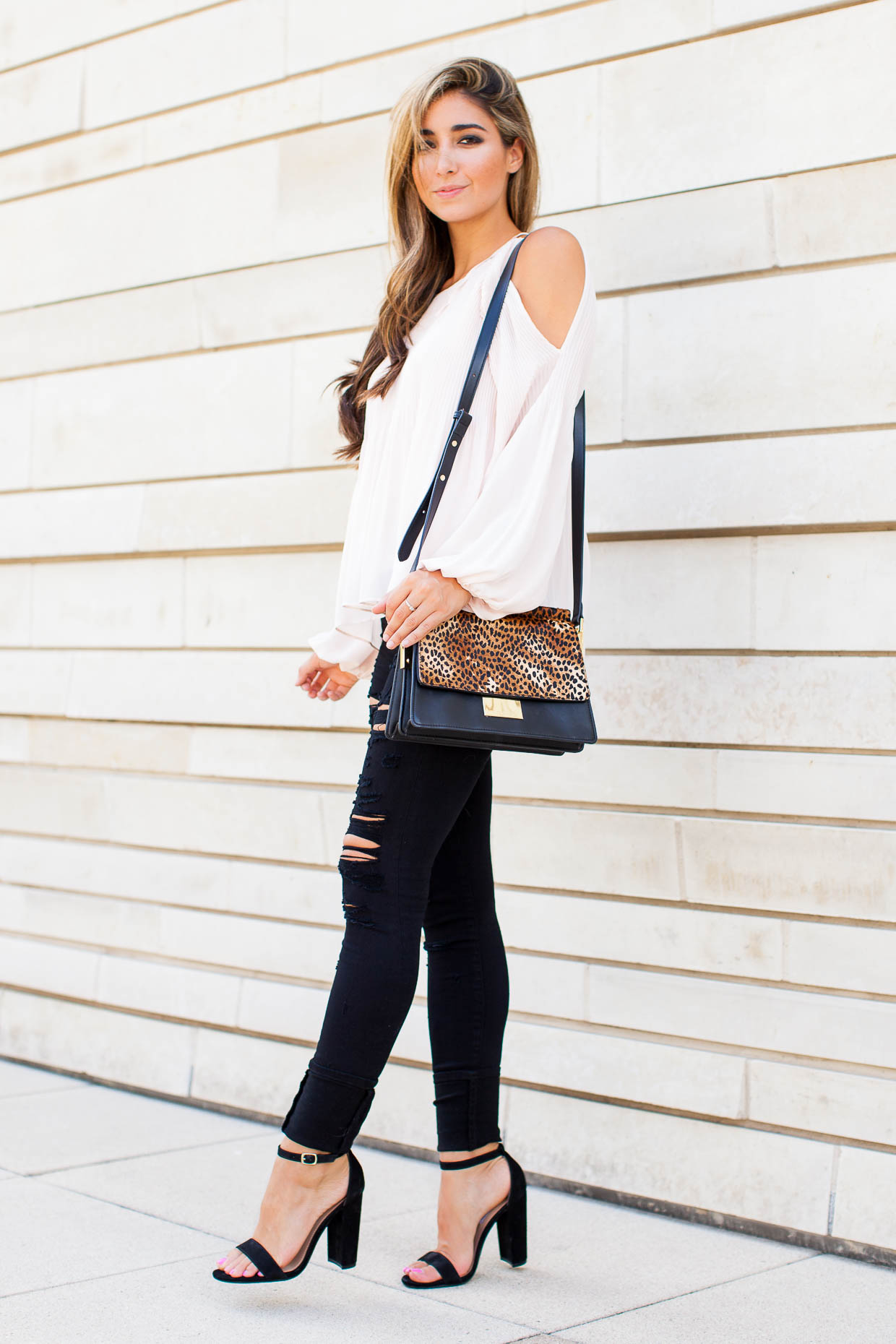 Fashion Blogger The Darling Detail is wearing an ASTR Pleated Cold Shoulder Top, A Gold E 'Sophie' High Rise Skinny Jeans, Steve Madden 'Carrson' Sandals, the Larsson & Jennings 'Lugano' Mesh Strap Watch, and a Vince Camuto 'Abril' Leather Shoulder Bag.