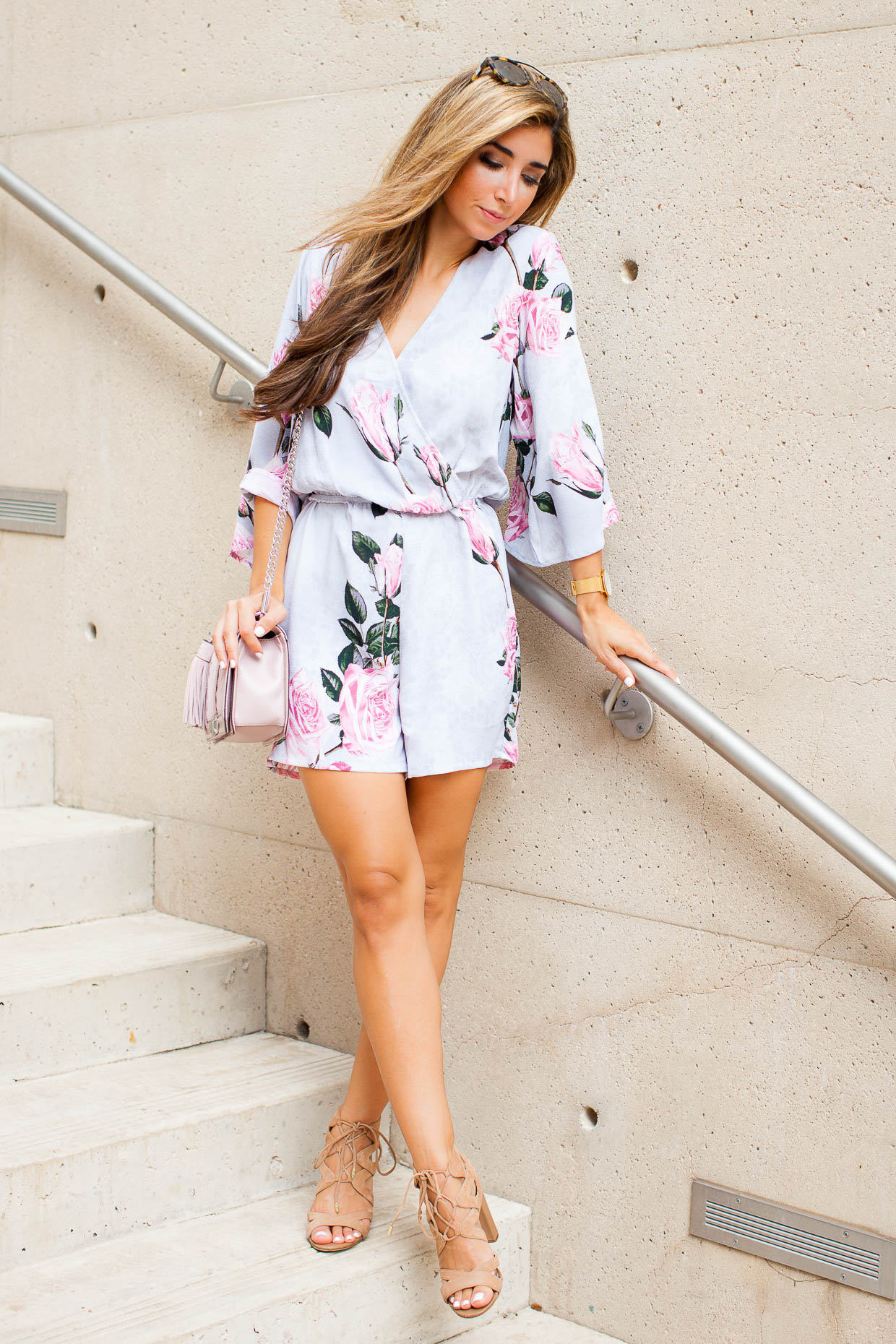 Fashion Blogger The Darling Detail is wearing a Glamorous Floral Lace Kimono Romper, Sam Edelman 'Yardley' Lace-Up Sandals, Westward Leaning Flower 1 Sunglasses, a Larsson & Jennings 'Lugano' Mesh Strap Watch, and is carrying a Rebecca Minkoff 'Love' Crossbody Bag.