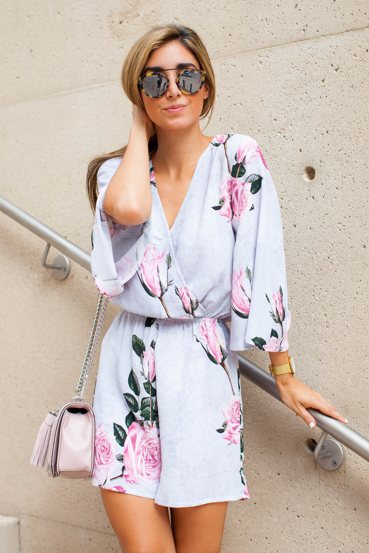 The Darling Detail is wearing a Glamorous Floral Lace Kimono Romper, Westward Leaning Flower 1 Sunglasses, a Larsson & Jennings 'Lugano' Mesh Strap Watch, and is carrying a Rebecca Minkoff 'Love' Crossbody Bag.