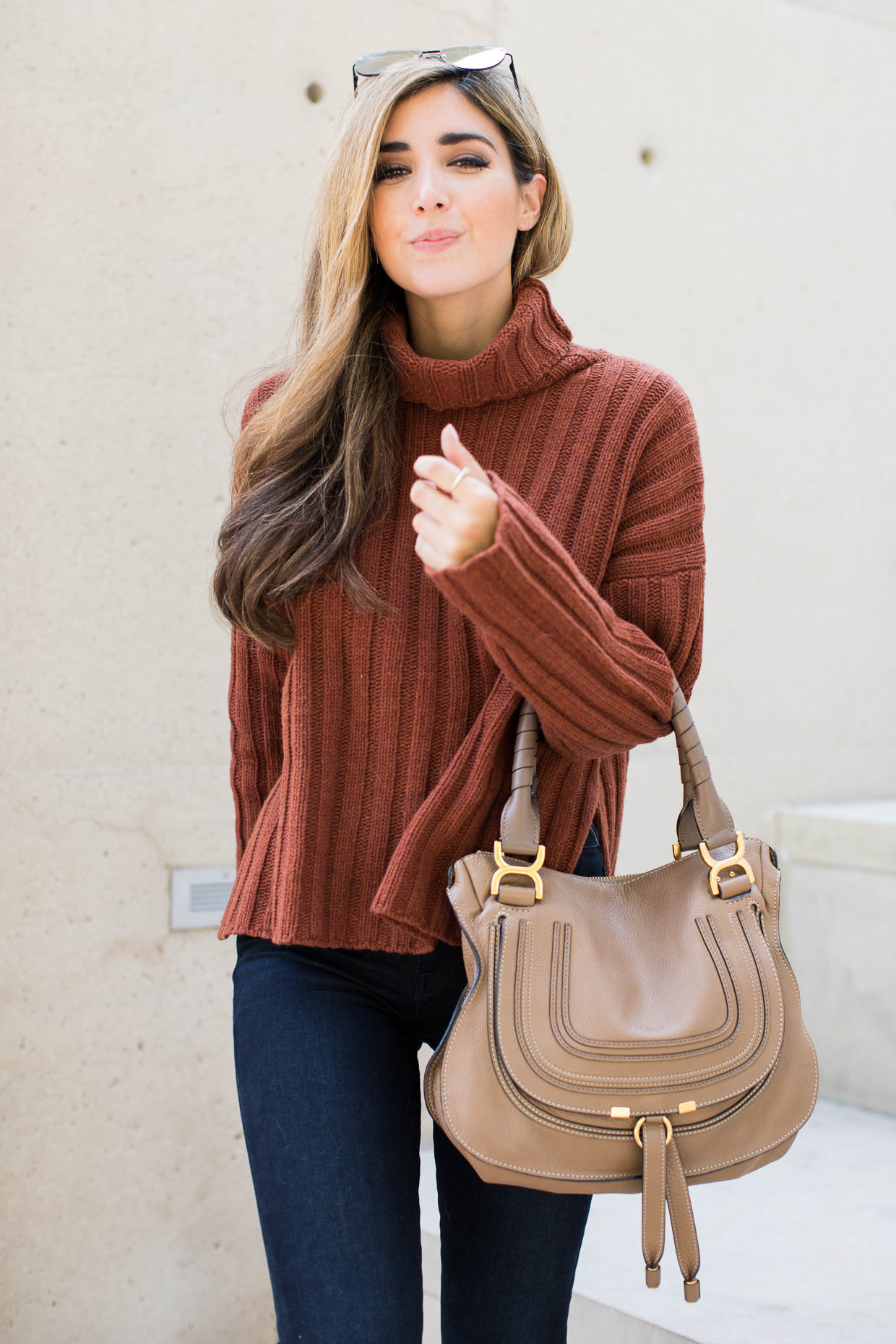 """Fashion blogger the Darling Detail is wearing a J.O.A. Turtleneck Sweater, FRAME """"Le High Skinny"""" High Rise Crop Jeans, LE SPECS 'The Prince' 57mm Sunglasses, Chloe 'Marcie - Small' Leather Satchel, and Larsson & Jennings 'Lugano' Mesh Strap Watch"""