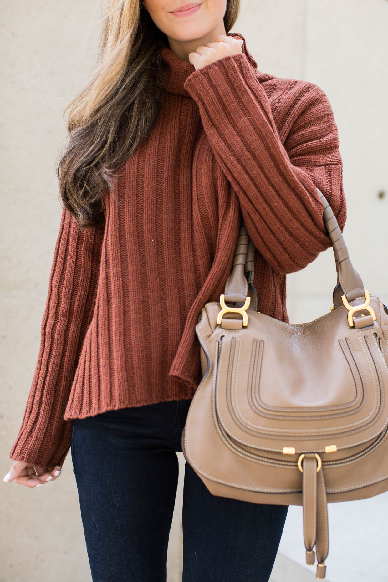 """Fashion blogger the Darling Detail is wearing a J.O.A. Turtleneck Sweater, FRAME """"Le High Skinny"""" High Rise Crop Jeans, Chloe 'Marcie - Small' Leather Satchel, and Larsson & Jennings 'Lugano' Mesh Strap Watch"""