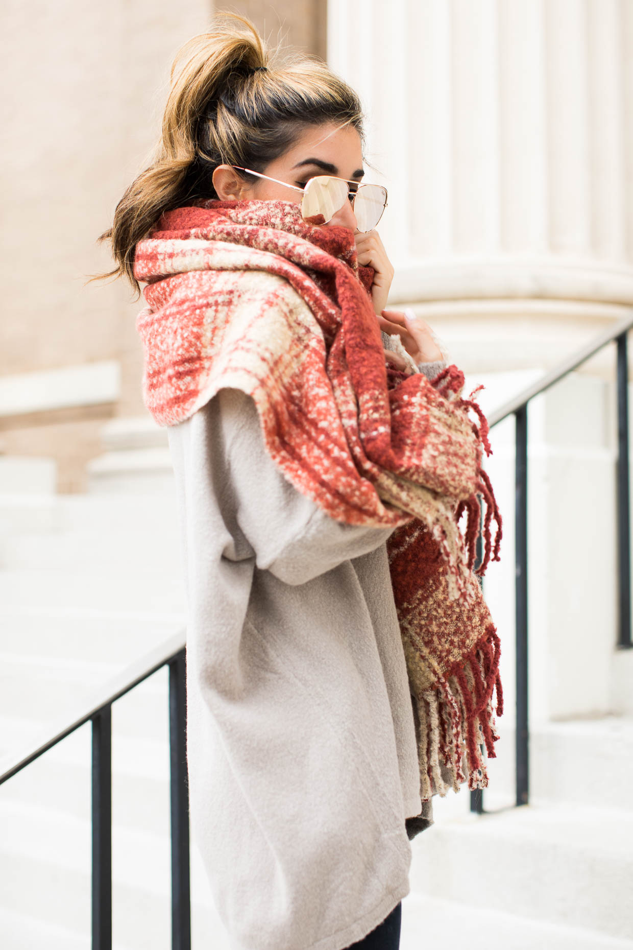 """Fashion blogger The Darling Detail wears Dreamers by Debut V-Neck Tunic      Free People Loveland Plaid Fringe Scarf, FRAME """"Le High Skinny"""" High Rise Crop Jeans, Quay Australia x Desi Perkins 'High Key' 62mm Aviator Sunglasses (Gold), Larsson & Jennings 'Lugano' Mesh Strap Watch"""