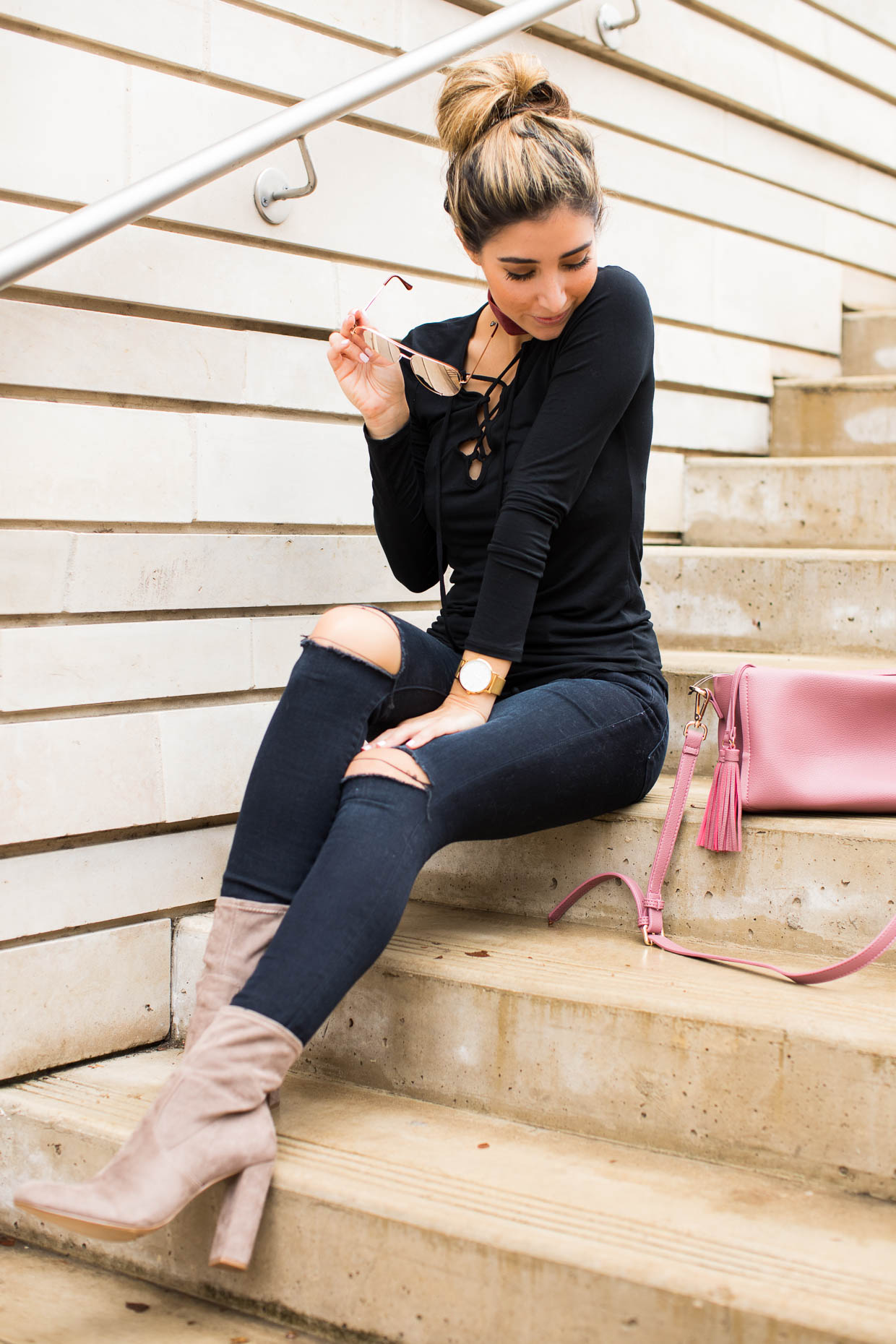 dff6a2cf6169 Fashion blogger the darling detail wears leith lace up long sleeve jpg  1240x1860 Steve madden skinny