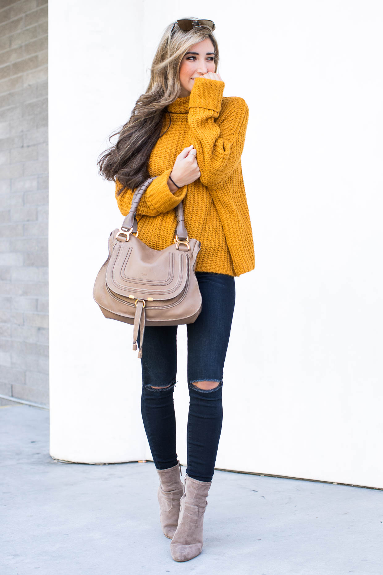 Fashion blogger The Darling Detail wears Leith Chunky Turtleneck Sweater, FRAME 'Le High Skinny' High Rise Crop Jeans (Sterling), Steve Madden Edit Bootie, LE SPECS 'The Prince' 57mm Sunglasses, Chloe 'Marcie - Small' Leather Satchel, Larsson & Jennings 'Lugano' Mesh Strap Watch