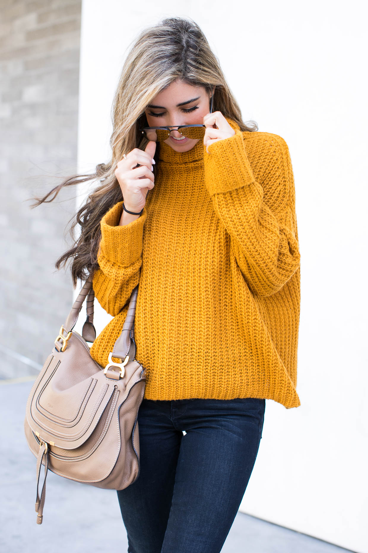 Fashion blogger The Darling Detail wears Leith Chunky Turtleneck Sweater, FRAME 'Le High Skinny' High Rise Crop Jeans (Sterling), LE SPECS 'The Prince' 57mm Sunglasses, Chloe 'Marcie - Small' Leather Satchel, Larsson & Jennings 'Lugano' Mesh Strap Watch