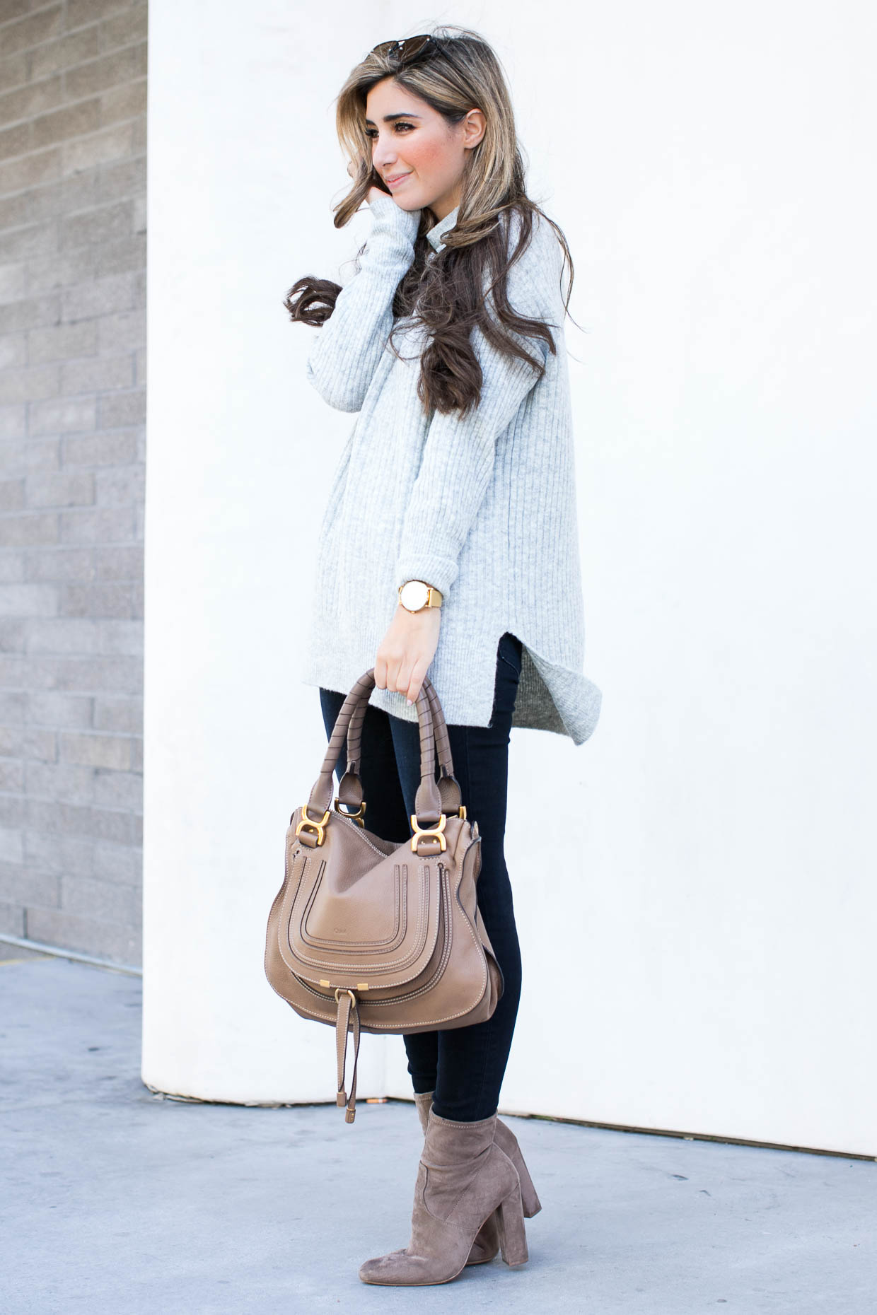 Fashion blogger The Darling Detail wears Topshop Oversized Funnel Neck Sweater, FRAME 'Le High Skinny' High Rise Crop Jeans (Sterling), Steve Madden Edit Bootie, LE SPECS 'The Prince' 57mm Sunglasses, Chloe 'Marcie - Small' Leather Satchel, Larsson & Jennings 'Lugano' Mesh Strap Watch