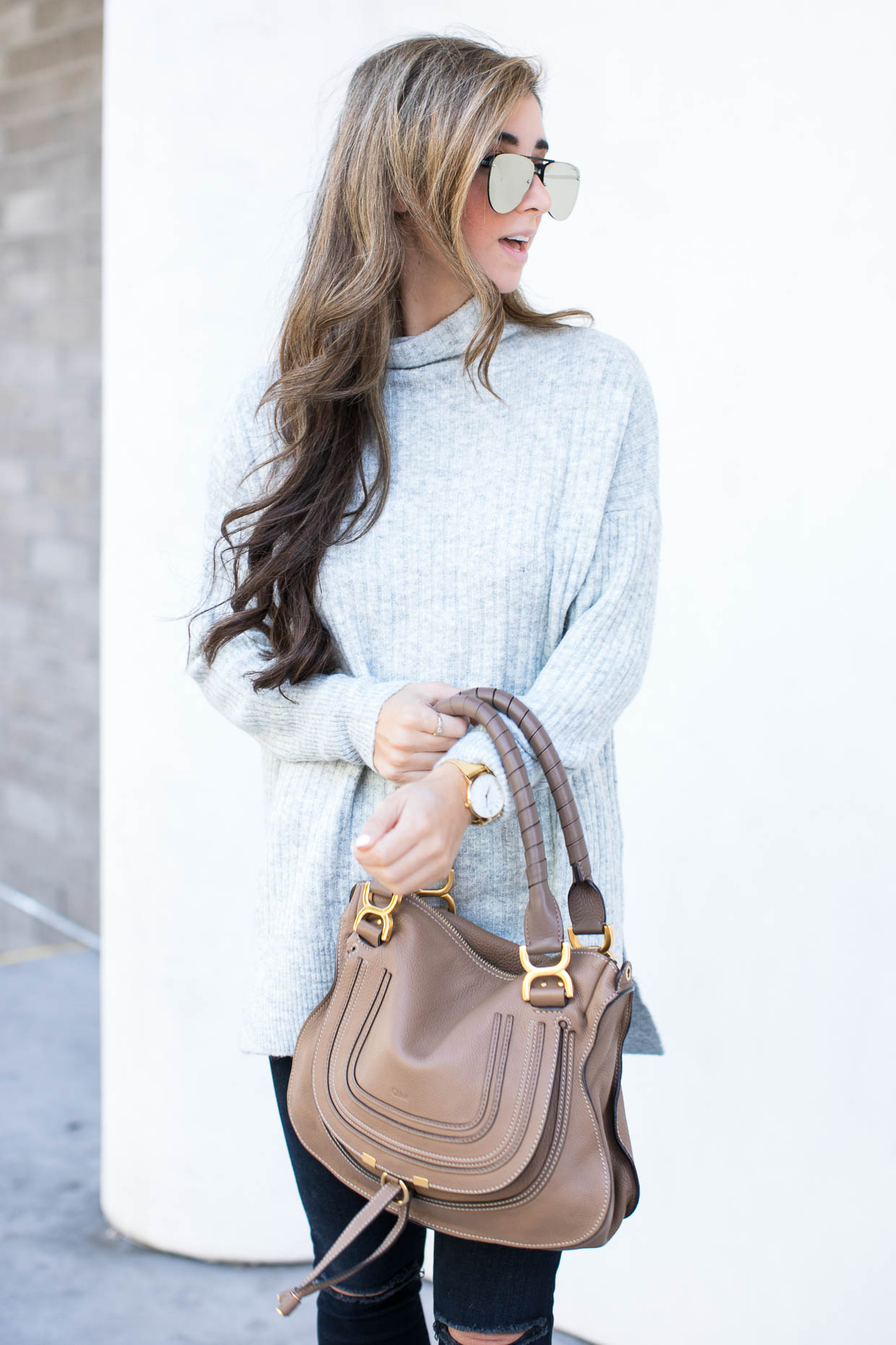 Fashion blogger The Darling Detail wears Topshop Oversized Funnel Neck Sweater, FRAME 'Le High Skinny' High Rise Crop Jeans (Sterling), LE SPECS 'The Prince' 57mm Sunglasses, Chloe 'Marcie - Small' Leather Satchel, Larsson & Jennings 'Lugano' Mesh Strap Watch