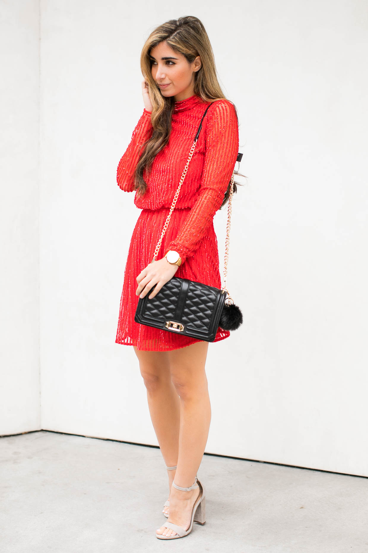 Fashion blogger The Darling Detail wears Topshop Sequin Blouson Dress, Steve Madden 'Stecy' Sandal, Rebecca Minkoff 'Love' Crossbody Bag, Larsson & Jennings 'Lugano' Mesh Strap Watch, and BP.  Faux Fur Pom Bag Charm