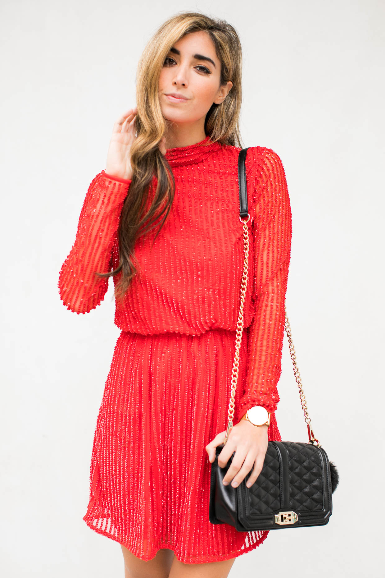 Fashion blogger The Darling Detail wears Topshop Sequin Blouson Dress,  Rebecca Minkoff 'Love' Crossbody Bag, Larsson & Jennings 'Lugano' Mesh Strap Watch, and BP.  Faux Fur Pom Bag Charm