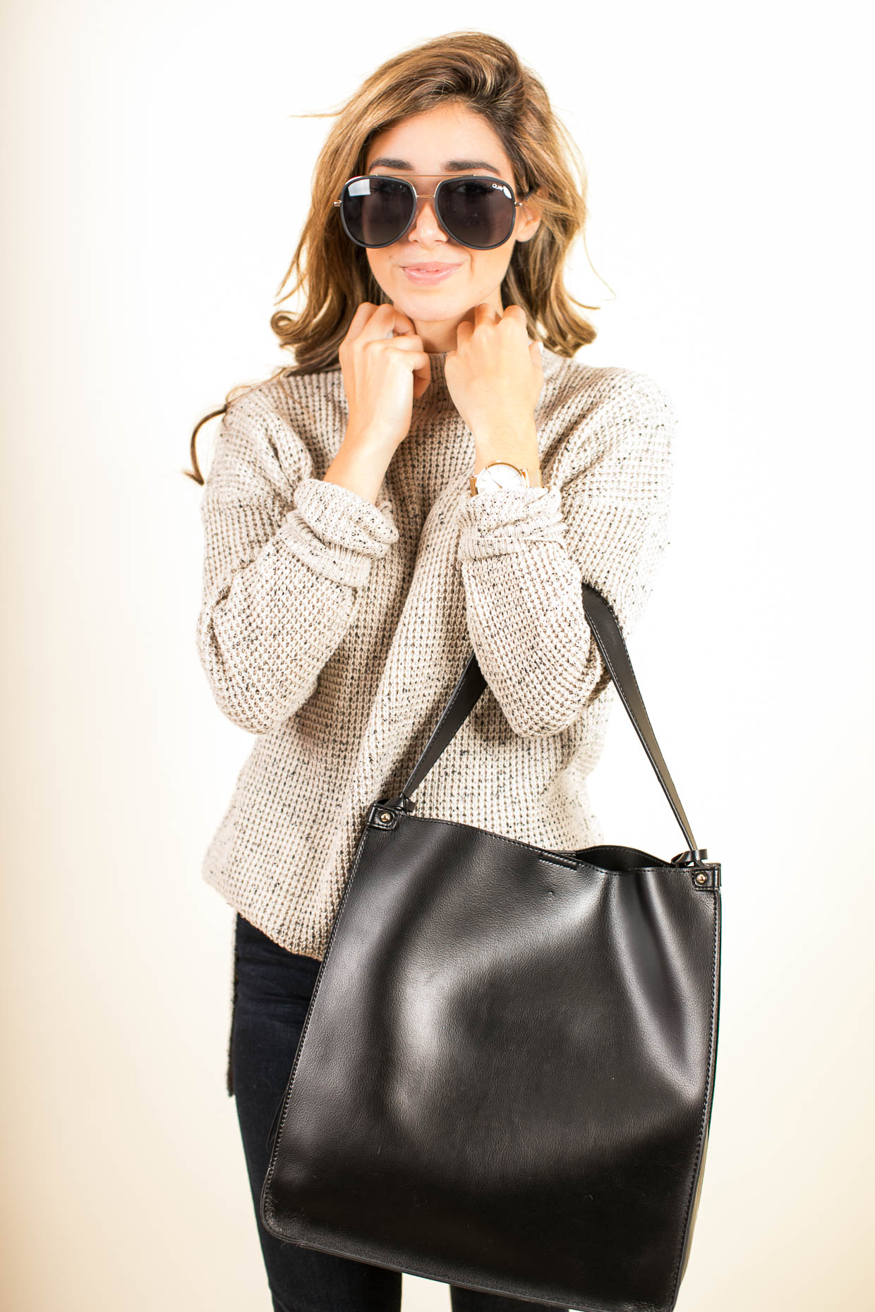 Fashion blogger The Darling Detail wears BP. Knit High/Low Tunic, FRAME 'Le High Skinny' High Rise Crop Jeans (Sterling), Quay Australia 'Needing Fame' 65mm Aviator Sunglasses, Larsson & Jennings 'Lugano' Mesh Strap Watch, and Sole Society Karlie Faux Leather Bucket Bag