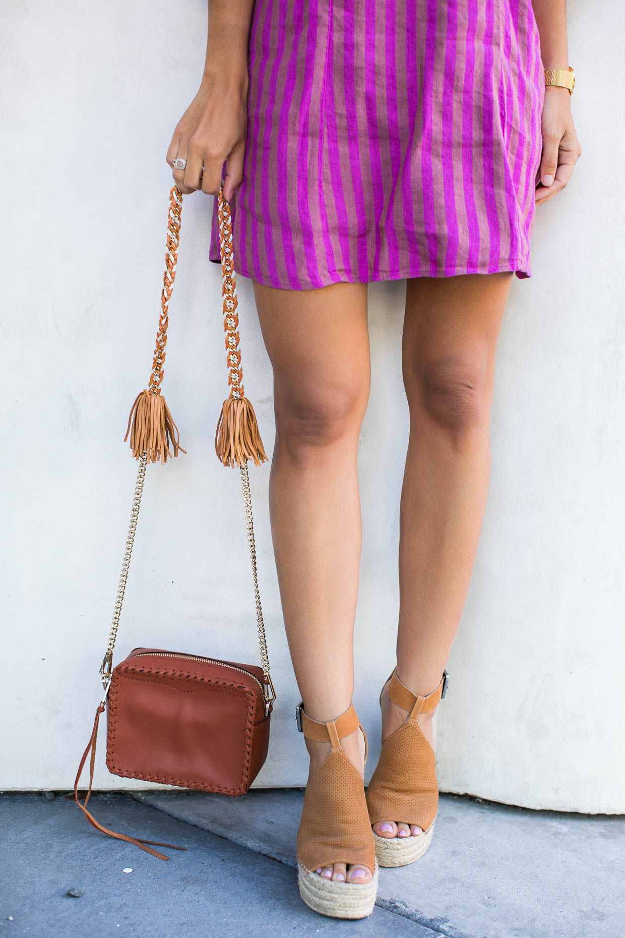 Fashion blogger The Darling Detail wears Free People Folk Town Minidress, Marc Fisher LTD Annie Perforated Espadrille Platform Wedge, Rebecca Minkoff Chase Leather Camera Crossbody Bag, LARSSON & JENNINGS 'Lugano' Mesh Strap Watch, 40mm, and Petite Albion Ring with Morganite and Diamonds