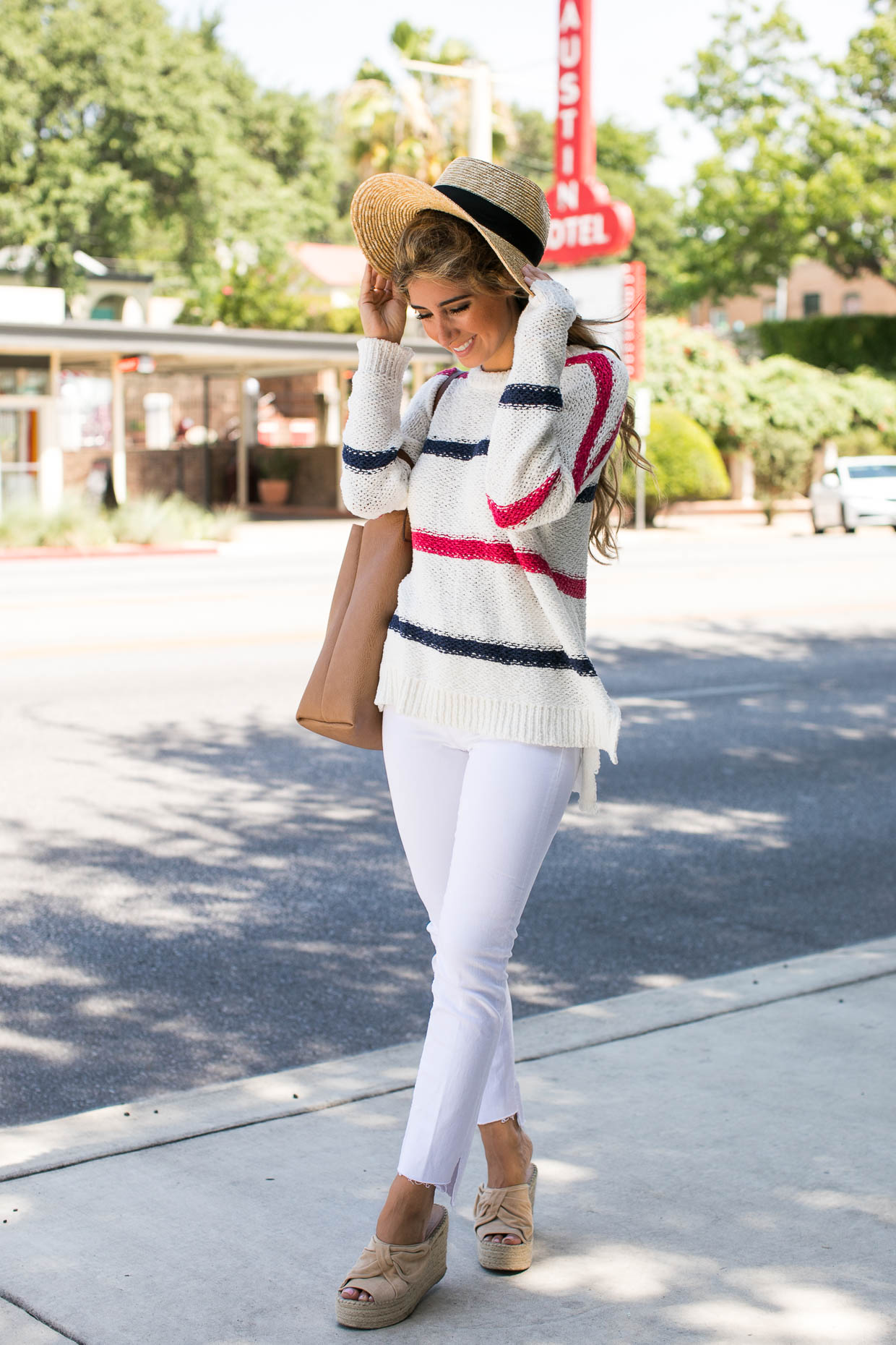 Fashion blogger The Darling Detail wears Cupcakes and Cashmere Madden Stripe Sweater